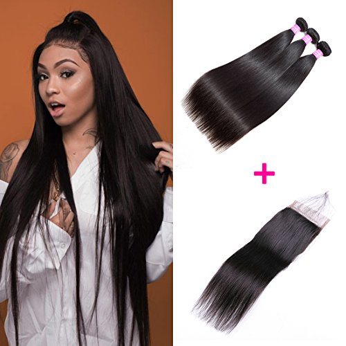 (Original Queen 8A Grade Brazilian 3 Bundles Straight Hair With Closure Silky Straight Virgin Human Hair Extension Natural Color 10 12 14inches With 8inches Frre Part Closure)