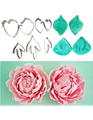 Garwarm 11pcs Set of Peony Flower Cutter Set Cake Decration Tool Fondant Cake Cutters Mold Sugarcraft Icing Decorating Flower Modelling Tools