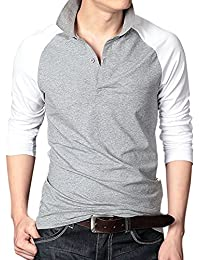 Men's Casual Shirts Crew Neck 2 Button Raglan Long Sleeve Polo T-Shirts