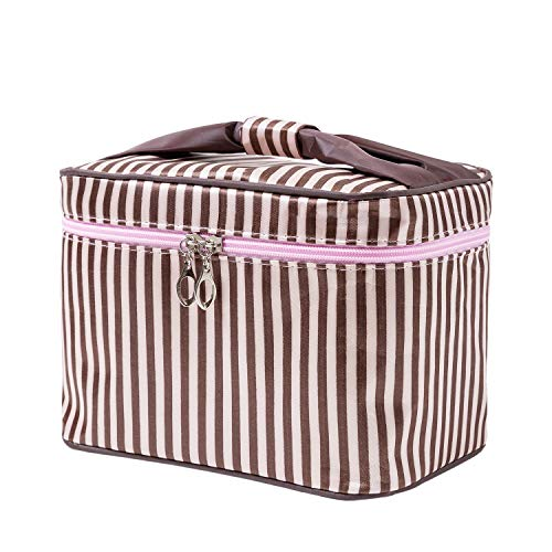 HOYOFO Women Portable Travel Cosmetic Bags with Brush Holder Make Up Bags,Coffee Stripe