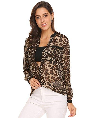 Women Blouse Casual Long Sleeve V-neck Leopard Chiffon Shirt - 2