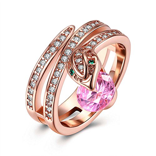 Rose Gold Plated Engagement Ring Wedding Band Unique Snake Ring for Women Size 8 by Wat (Rose Gold&Pink)