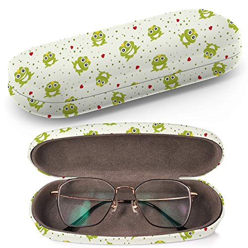 (Hard Shell Glasses Protective Case with Cleaning Cloth for Eyeglasses and Sunglasses - Frog Prince)