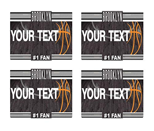 BRGiftShop Personalize Your Own Basketball Team Brooklyn Set of 4 Square Beverage -