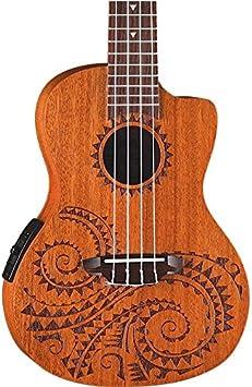 prix plancher prix d'usine photos officielles Luna Tattoo Concert Mahogany Acoustic/Electric Ukulele with Preamp & Gig Bag