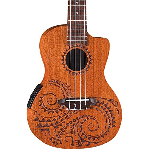 Luna Tattoo Concert Mahogany Acoustic/Electric Ukulele with Preamp & Gig Bag