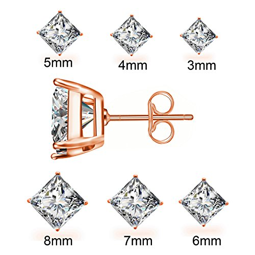Anni Coco Rose Plated Steel Princess Stud Pairs