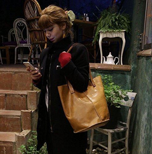 Beige Leather Handmade Tote Bag / Shoulder Bag