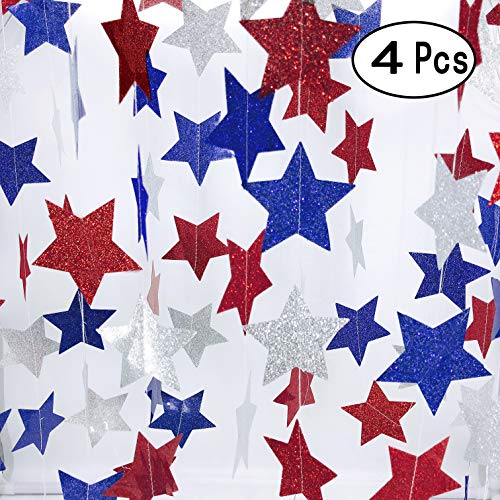 National Day Patriotic Twinkle Stars Paper Garlands Hangings Decorations Red Blue White 4th of July Presidents Day Birthday Party Decorations