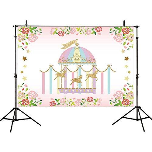 Allenjoy 7x5ft Polyester Flower Circus Carnival Backdrops Golden