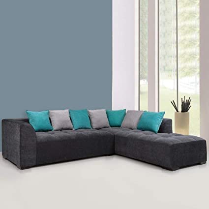 Evok Roland Five Seater L-Shaped Sofa (Grey)