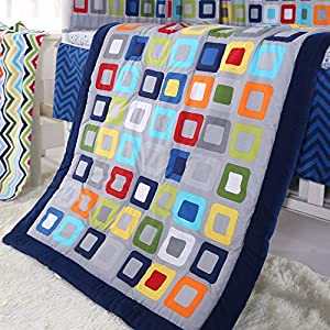 Wowelife Baby Crib Bedding Sets for Boys Blue 8 Piece Square Geometry Nursery Bedding Set for Baby with Bumpers(Blue Lattice-8 Piece)
