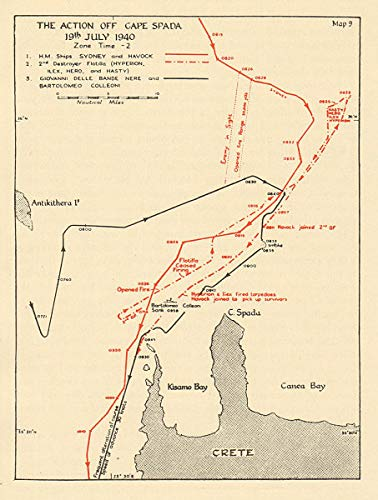 Amazon.com: Battle of Cape Spada, 19th July 1940. Crete. Sketch map ...