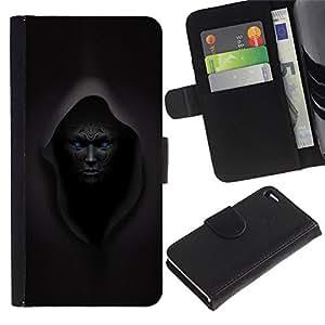 Estuche de Cuero Billetera del tirón Tarjeta de la Bolsa Titular de Suave Caso para Apple Iphone 4 / 4S / CECELL Phone case / / Dark Lord Overlord Black Demon Monster /
