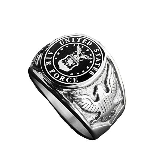 - JAJAFOOK Vintage Titanium Steel US Military Air Force Ring Eagle Medal Rings for Men, Silver/Gold/Black