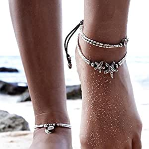 Missgrace Vintage Style Antique Silver Anklet Coin Tassels Beach Ankle Chain Fashion Coin Leg Ankle Bracelet Anklets for Women To Beach