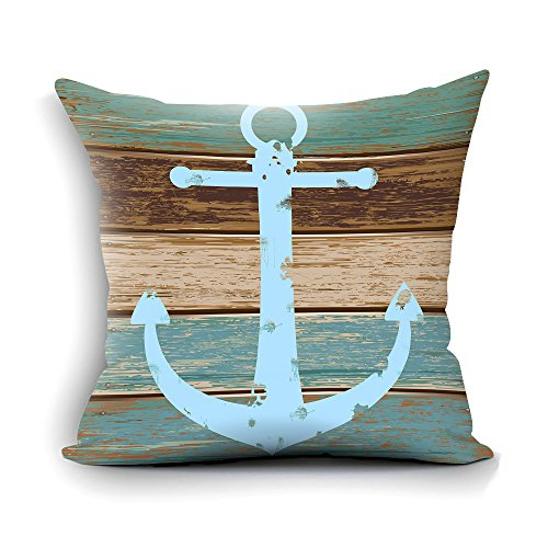Home Decorative Nautical Anchor Rustic Wood Cotton Throw Pillow Case Cushion Cover Standard Size 18