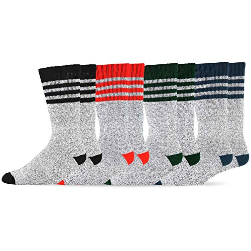 (Soxnet Eco Friendly Heavy Weight Recyled Cotton Thermals Boot Socks 4 Pairs (9-11, Multi Stripe))