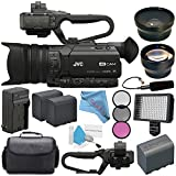 JVC GY-HM170UA 4KCAM Compact Professional Camcorder with Top Handle Audio Unit + BNV-F823 Replacement Lithium Ion Battery + External Rapid Charger QAN0067-003 Microphone Bundle