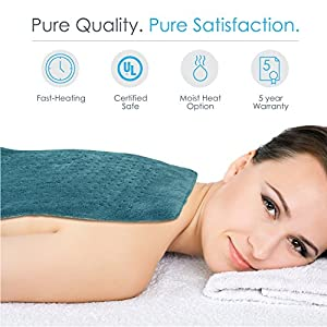 """PureRelief XL – King Size Heating Pad with Fast-Heating Technology, 6 Temperature Settings, & Convenient Storage Bag – Turquoise Blue (12"""" x 24"""")"""