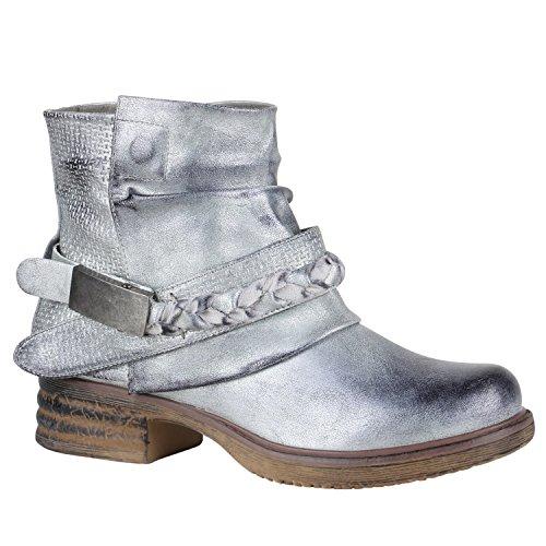 Stiefelparadies Damen Stiefeletten Biker Boots Schnallen Nieten Knöchelhohe Stiefel Leder-Optik Flandell Silber Flechte