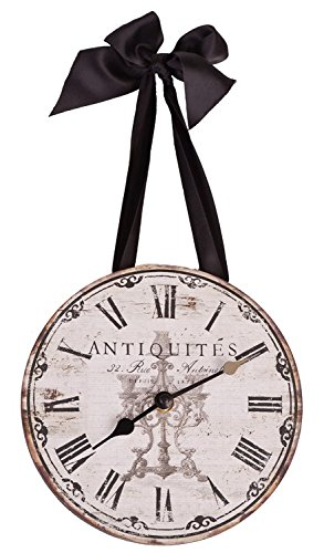 French Themed Antiquites Wall Clock with Ribbon - 8 (French Clock Wall)