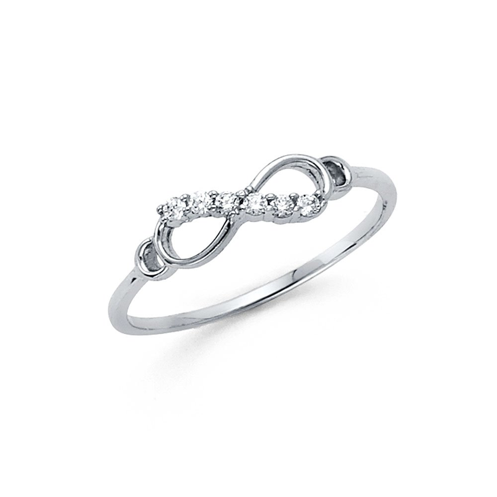 14k White Gold CZ Infinity Ring Love Band Promise Ring Right Hand Stylish Polished Finish Size 6.5 by ZenJewels (Image #1)