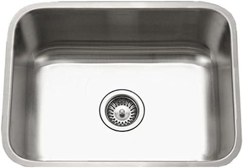 Houzer STS-1300-1 Eston Series Undermount Stainless Steel Single Bowl Kitchen Sink, 18 Gauge