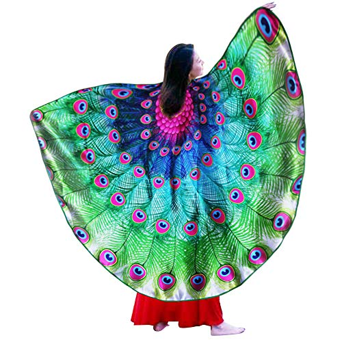 Fairy Peacock Costume Women Bird Wings Feathered- Adult-Sized Shawl Dress Up Dance Cosplay (Rose-Green)