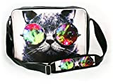 ORYGINAL Retro Shoulder Bag Teen Women's Men's for school A4 Messenger 20 models Galaxy Sunglasses Cat