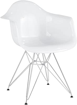 LumiSource Accent Chair in White and Chrome Finish