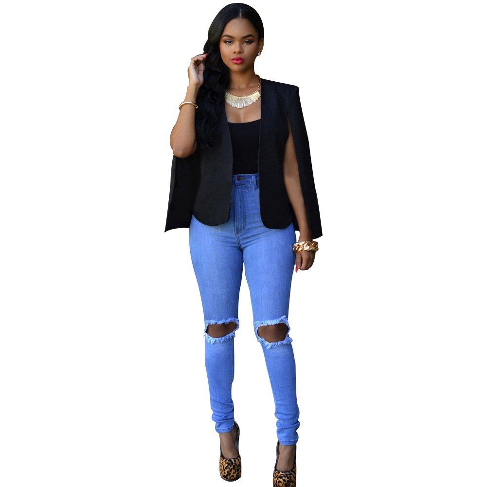 Women's Girl Casual Stylish Hip Hop Split Sleeve Short Blazer Jacket Coat Cape Cloak Party Clubwear (L, black)