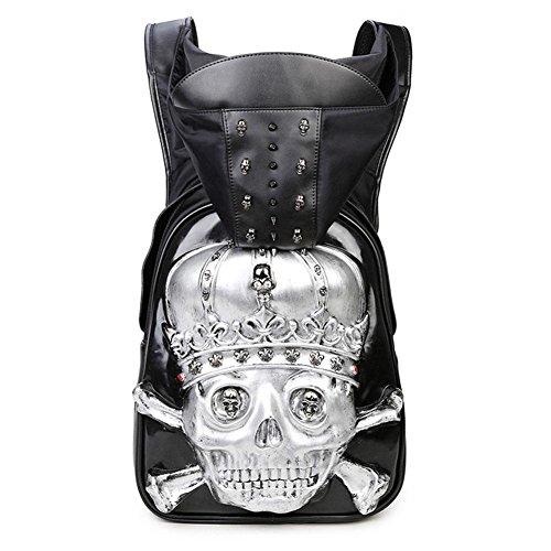 Hombre 3D con tachuelas de cabeza de cráneo PU mochila con el sombrero Casual Bag Bolsa de viaje Mochila Viajes Mochilas Camping , black , 42*30*11cm silver