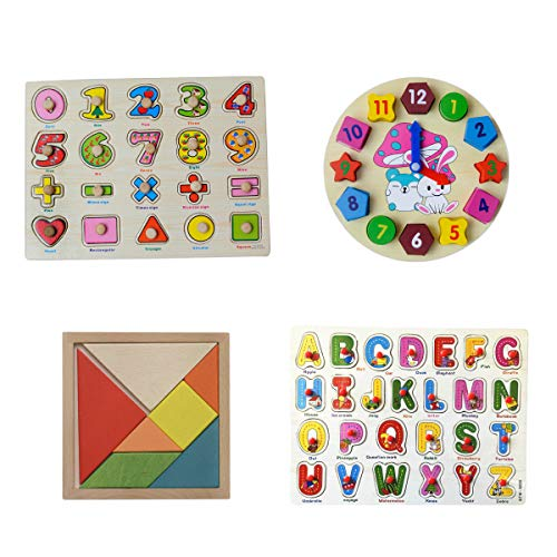 Kidsteins - 4 Preschool Toys Value Pack - Math, Alphabet, Clock and Creativity Tangram Puzzle - The Best Logic and Educational Toy Set for Preschoolers, Toddlers and Small Kids