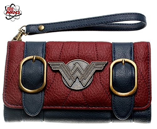 Wonder Woman Trifold Wallet / Leather Style / Metal Buckles - Wonder Wallets Purses Woman