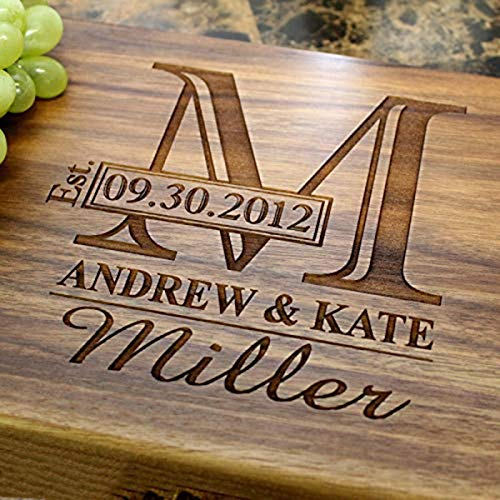 Personalized Cutting Boards, Wooden Engraved Custom Carving Board for Weddings, Serving Tray, Kitchen Butcher Block (2 Piece Presentation Carving)