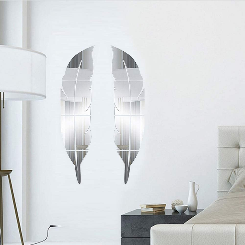 """LOMYLM Wall Mirror Stickers 1 Pair - Self Adhesive 3D Feather Mirror Wall Decal for Bedroom Bathroom Decoration, Silver 7""""x28"""""""
