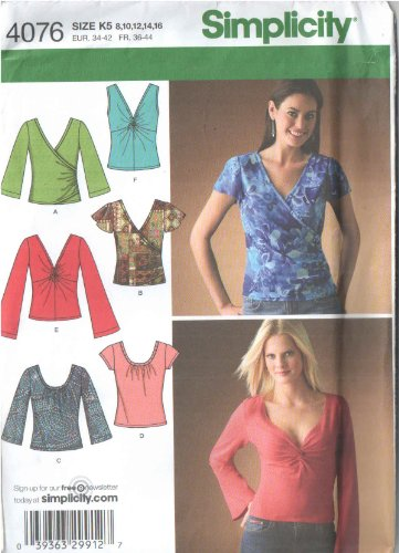 Simplicity 4076 Misses\' Paper Sewing Pattern for Stretch Knit Tops ...