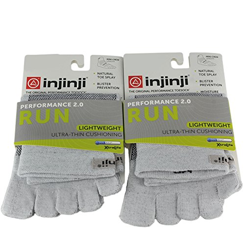 Injinji Unisex Run Lightweight Ultra Thin Cushioning Mini Crew Toesocks Bundl... ()