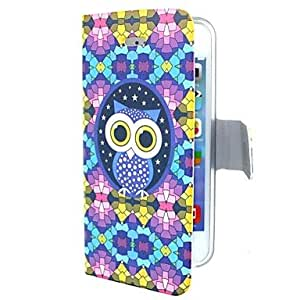 TY-Caso elegante de cuero azul del búho de la PU para el iPhone 5/5S
