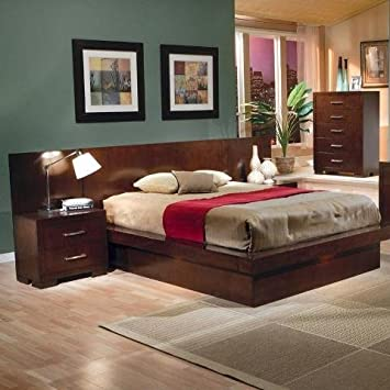 jessica collection contemporary style queen size platform bed - Queen Size Platform Bed Frame