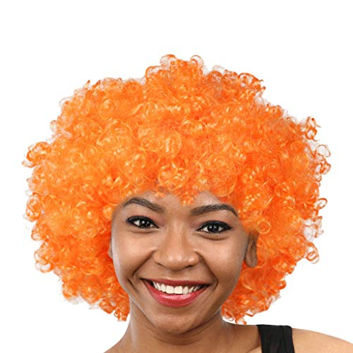 Wigs Short Body Wave Synthetic Women Shaped Natural Hairline Jet Color Party Disco Funny Afro Clown Football Fan-Adult Afro Masquerade NONE Lace (I) -