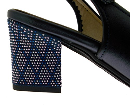 Loren 5234 decolt Open Large Blue Metal Sandal 36 M6ghaZn