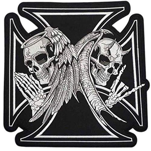 Angel n Devil Skull Black Cross Embroidered Iron On Patch Large 28.8 x 28.8 cm
