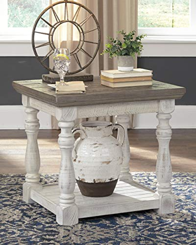 Signature Design by Ashley – Havalance Farmhouse End Table, Whitewash Brown Wood