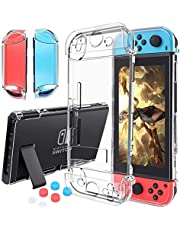 Case Compatible with Nintendo Switch,Case Updated Version Dockable and Scratch Free Ultra Slim Protective Cover Case with 6 Thumb Grips Caps Compatible with Nintendo Switch Console and Nintendo Switch Joy-Con Controller