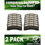 2 Pack HEPA Filter for Shark Navigator Professional Vacuum Cleaners (compares to XHF80). Fits: NV70, NV80, NVC80C, NV90, UV420. Genuine Green Label Product.