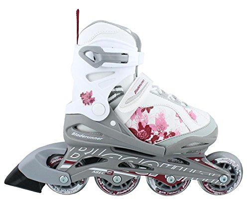 Bladerunner Girls Phoenix 4 Size Adjustable Skate, White/Pink, 11j - 1