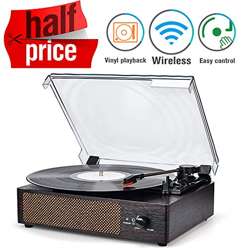 Record Player Portable Wirelessl LP Belt-Drive 3-Speed Turntable with Built in Stereo Speakers, Vintage Style Vinyl Record Player (Vintage Style-Brown) (Vintage Style) (Minimal Record Player)