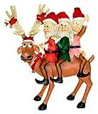 Queens of Christmas WL-DEER-55-3ELF Funny Reindeer Standing with 3 Elves Decorative Figurine